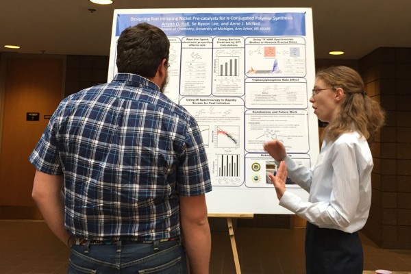 Ariana presenting her poster at the 2015 Karle Symposium